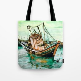 Boat on Seashore Tote Bag