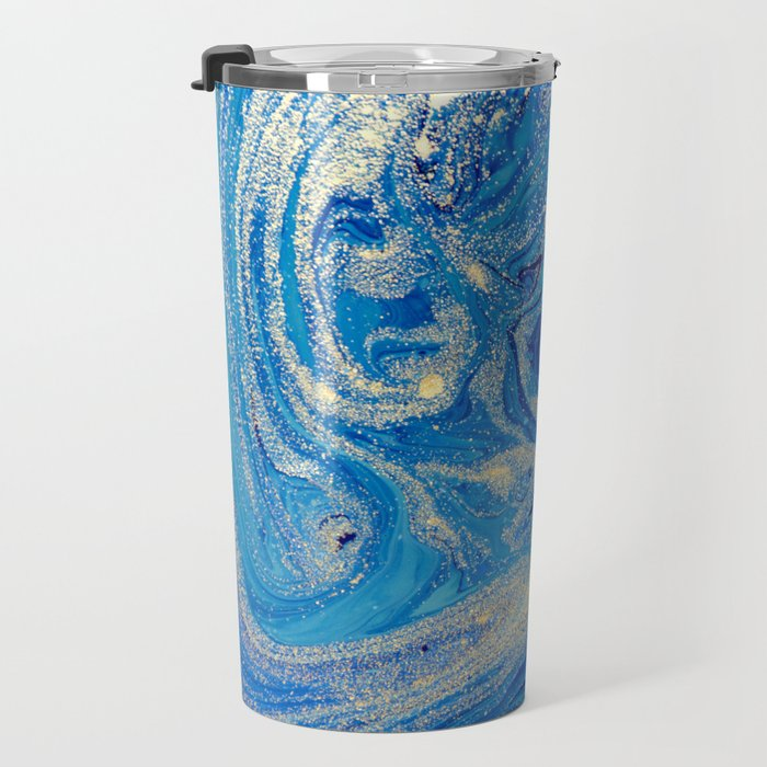 Blue & Gold Glitter Painting Travel Mug