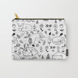 Sleepy Woodland Animals - Black and White Carry-All Pouch