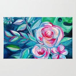 Tropical Camellia Extravaganza - oil on canvas Rug