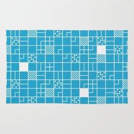 Inverted Boxes Blue Rug