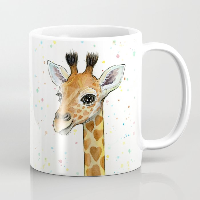 Giraffe Baby Animal with Hearts Watercolor Coffee Mug by olechka ...