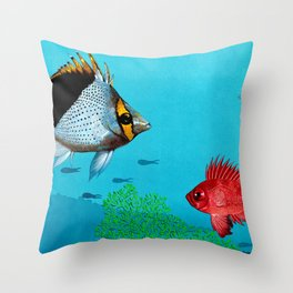 Butterfly & Bigeye fishes Throw Pillow