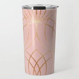 Rose gold millennial pink blooms Travel Mug