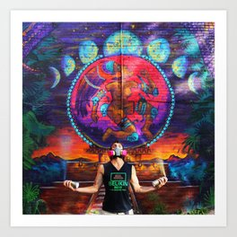 Aztec Goddess Mural with CROZ Art Print