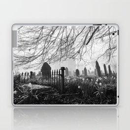 Rural church and graveyard in early morning fog. Hilborough, Norfolk, UK. Laptop & iPad Skin