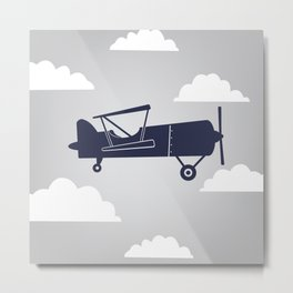 Biplane Navy/Gray Metal Print