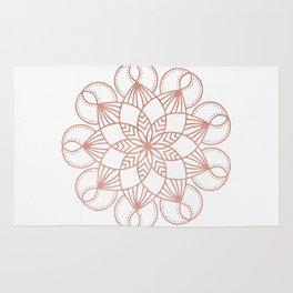 Mandala Flowery Vine Rose Gold on White Rug