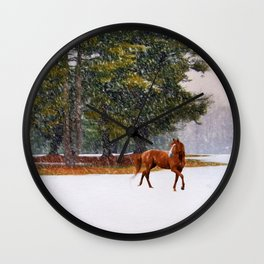 Winter in Horse Country Wall Clock