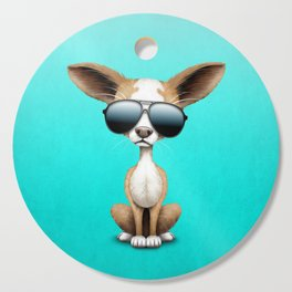 Cute Chihuahua Puppy Wearing Sunglasses Cutting Board