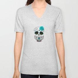 Adorable Teal Blue Day of the Dead Sugar Skull Owl Unisex V-Neck