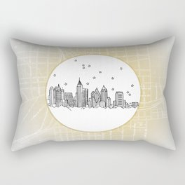 Atlanta, Georgia City Skyline Illustration Drawing Rectangular Pillow