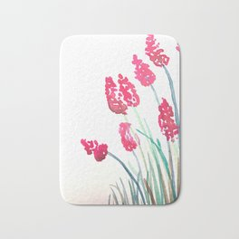 Red flower watercolour Bath Mat