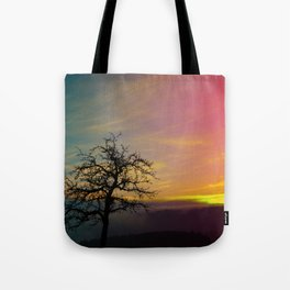 Old tree and colorful sundown panorama | landscape photography Tote Bag