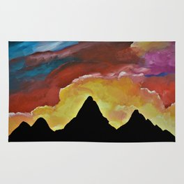 Everest Silhouette - Abstract Sky Oil Painting Rug