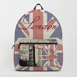 London Great Britain Big Ben Flag Collage #Society6Art Backpack
