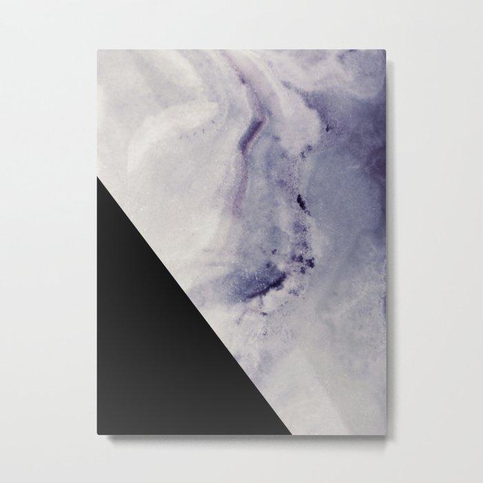 Blue Marble with Black Geometry Metal Print