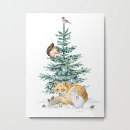 christmas tree in the forest Metal Print