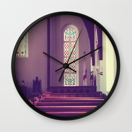 Old Church Stained Glass Wall Clock