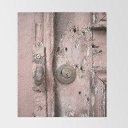 Pink Rusty Door Throw Blanket