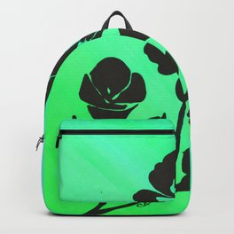 Green Silhouette Roses Varigated Background Acrylic Art Backpack