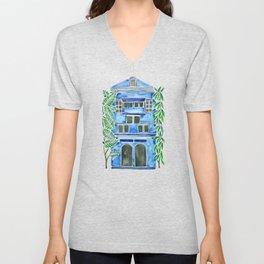 Tropical Blue House Unisex V-Neck