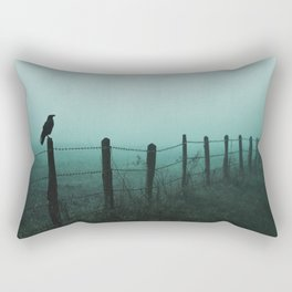 Crow on fence foggy rainy day silhouette horror rpg dark style green and black tones Rectangular Pillow