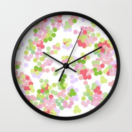 Pointillism . Pink and green . Wall Clock