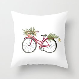 Red Christmas bicycle Throw Pillow