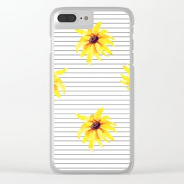 Yellow Daises on Minimal Black and White Stripes Clear iPhone Case