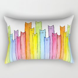 Cat Rainbow Watercolor Whimsical Animals Cats Pattern Rectangular Pillow