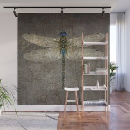 Dragonfly On Distressed Metallic Grey Background Wall Mural