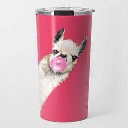 Bubble Gum Sneaky Llama in Red Travel Mug