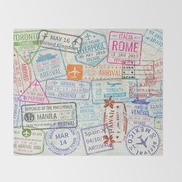 Vintage World Map with Passport Stamps Throw Blanket