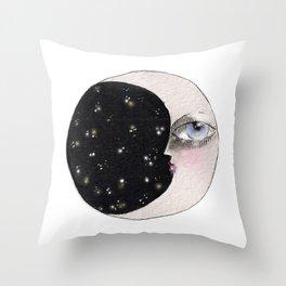 Moon Awake Throw Pillow