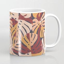 Color Block Monstera Leaves in Maroon Coffee Mug
