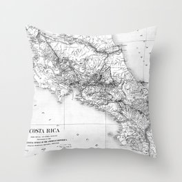 Vintage Map of Costa Rica (1903) BW Throw Pillow