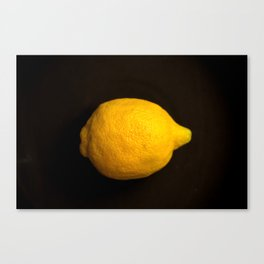 Yellow Lemon On A Black Background #decor #society6 Canvas Print