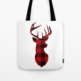 Red Buffalo Plaid Deer Tote Bag