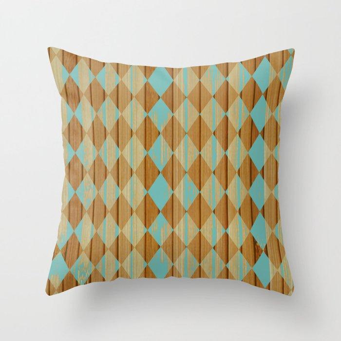 Wooden Mint  Throw Pillow