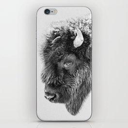 Animal Photography | Bison Portrait | Black and White | Minimalism iPhone Skin