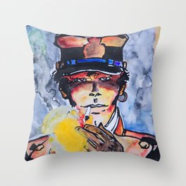 Corto with cigar Throw Pillow