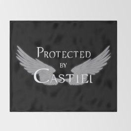 Protected by Castiel White Wings Throw Blanket