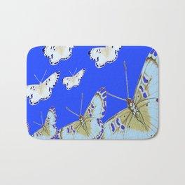 PATTERN OF BLUE & WHITE BUTTERFLIES MODERN ART Bath Mat