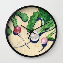 Easter Egg Radishes in Gouache Wall Clock