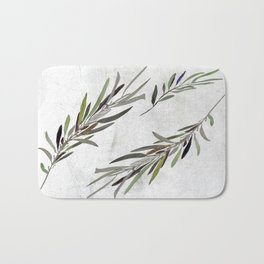 Eucalyptus Leaves White Bath Mat