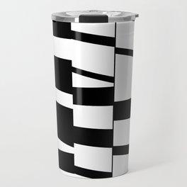 Slanting Rectangles - Black and White Graphic Art by Menega Sabidussi Travel Mug