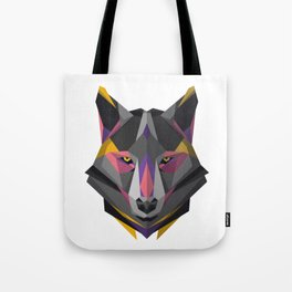 Triangular Geometric Wolf Head Tote Bag