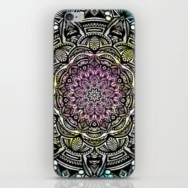 DETAILED CHARCOAL MANDALA (BLACK AND WHITE) WITH COLOR (PINK YELLOW TEAL) iPhone Skin