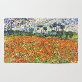 Poppy Field by Vincent van Gogh, 1890 painting Rug